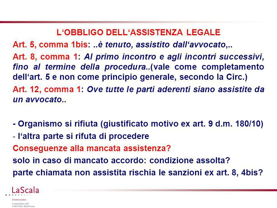 L'OBBLIGO DELL'ASSISTENZA LEGALE Art. 5, comma 1bis:..è tenuto, assistito dall'avvocato,.. Art. 8, comma 1: Al primo incontro e agli incontri successi