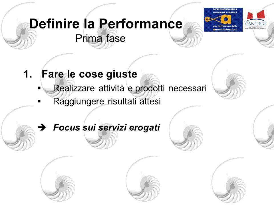 Definire la Performance 1.Fare le cose giuste  Realizzare attività e prodotti necessari  Raggiungere risultati attesi  Focus sui servizi erogati Prima fase