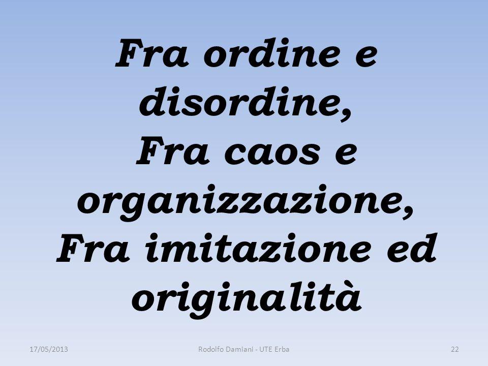 Fra ordine e disordine, Fra caos e organizzazione, Fra imitazione ed originalità 17/05/2013Rodolfo Damiani - UTE Erba22