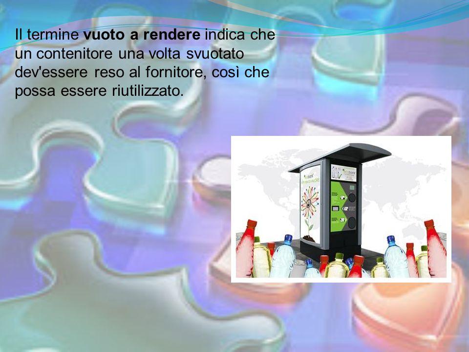 Il termine vuoto a rendere indica che un contenitore una volta svuotato dev'essere reso al fornitore, così che possa essere riutilizzato.