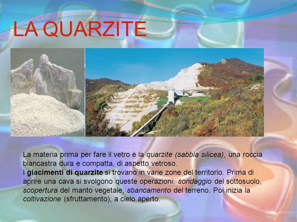 LA QUARZITE La materia prima per fare il vetro è la quarzite (sabbia silicea), una roccia biancastra dura e compatta, di aspetto vetroso. I giacimenti