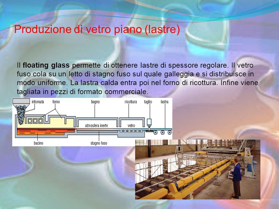 Produzione di vetro piano (lastre) Il floating glass permette di ottenere lastre di spessore regolare.