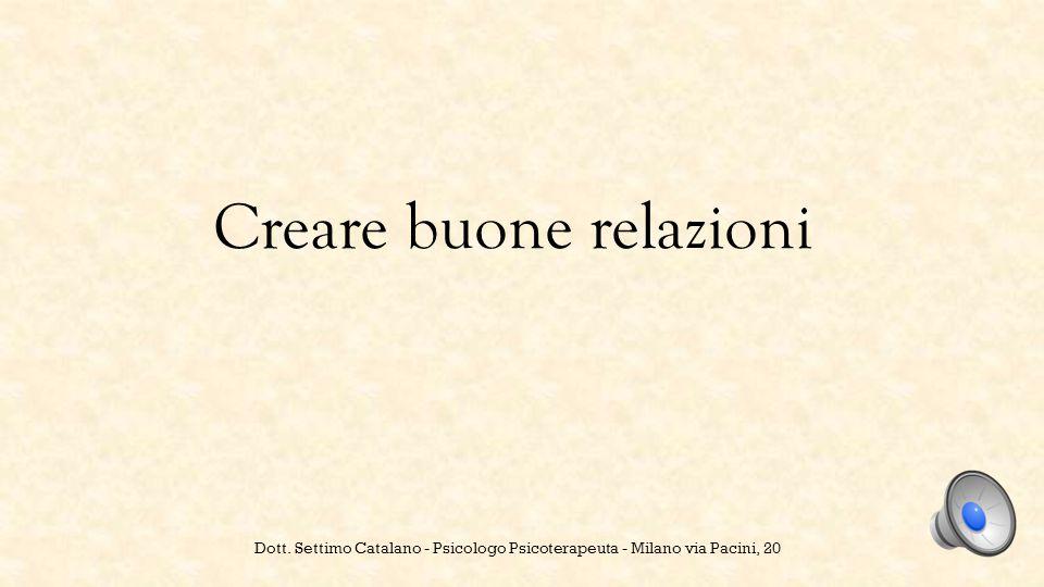 Creare buone relazioni Dott. Settimo Catalano - Psicologo Psicoterapeuta - Milano via Pacini, 20