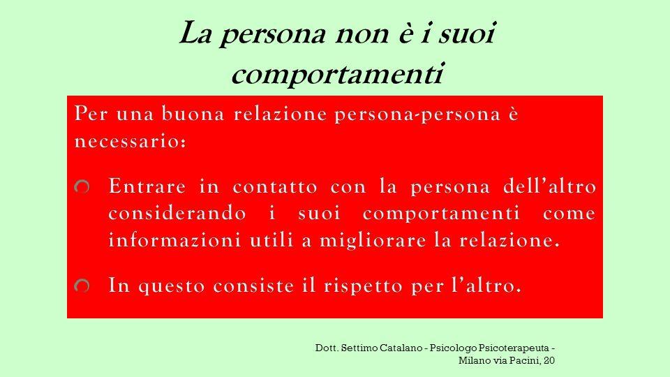 La persona non è i suoi comportamenti Dott. Settimo Catalano - Psicologo Psicoterapeuta - Milano via Pacini, 20