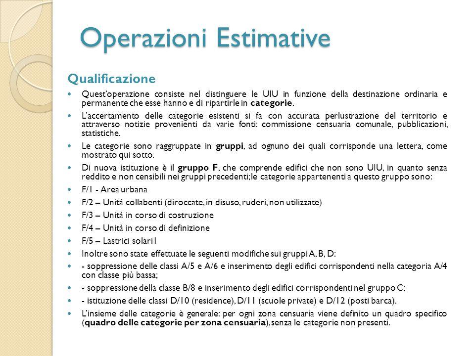 Operazioni Estimative Qualificazione Quest'operazione consiste nel distinguere le UIU in funzione della destinazione ordinaria e permanente che esse h