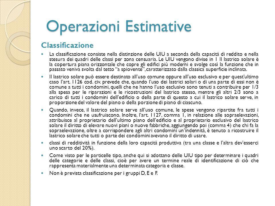 Operazioni Estimative Classificazione La classificazione consiste nella distinzione delle UIU a seconda della capacità di reddito e nella stesura dei