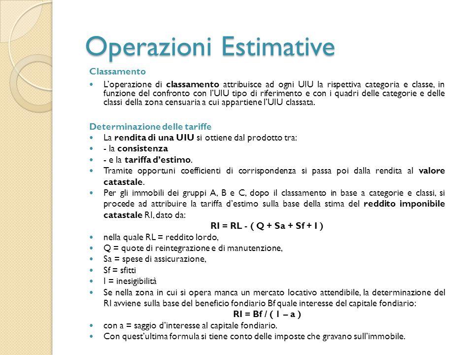 Operazioni Estimative Classamento L'operazione di classamento attribuisce ad ogni UIU la rispettiva categoria e classe, in funzione del confronto con