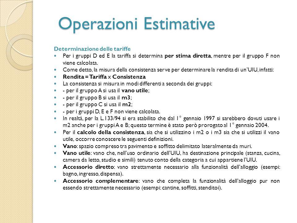 Operazioni Estimative Determinazione delle tariffe Per i gruppi D ed E la tariffa si determina per stima diretta, mentre per il gruppo F non viene cal