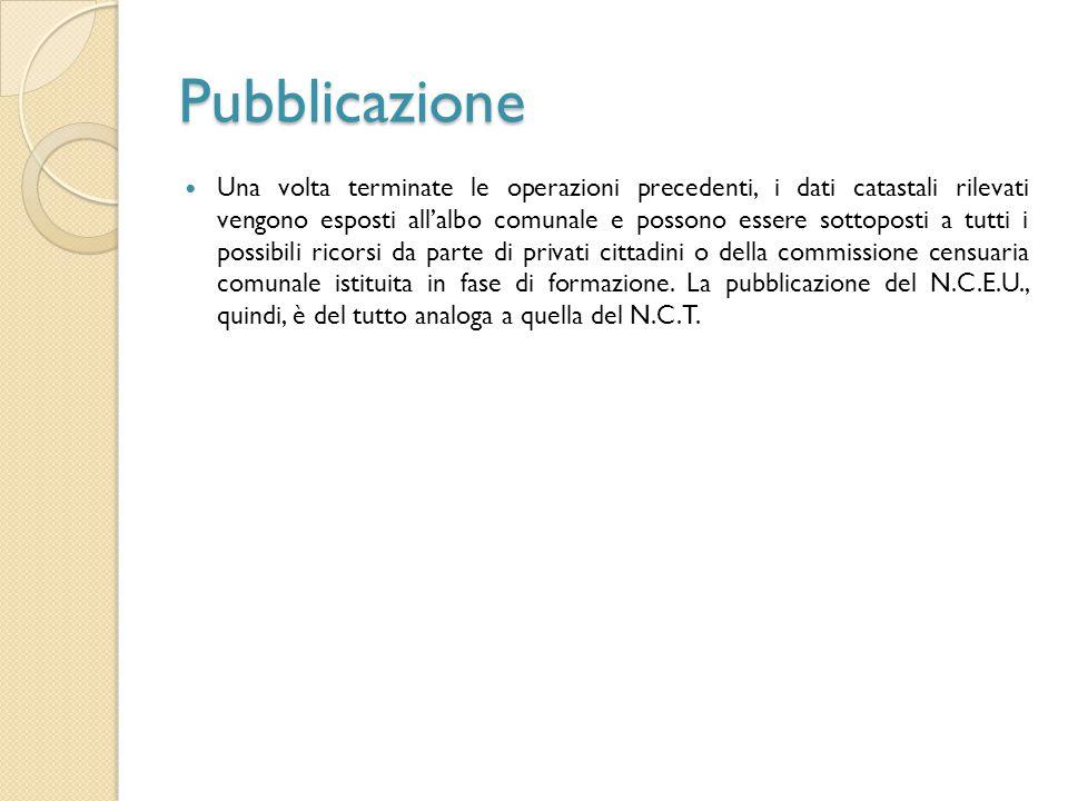 Pubblicazione Una volta terminate le operazioni precedenti, i dati catastali rilevati vengono esposti all'albo comunale e possono essere sottoposti a