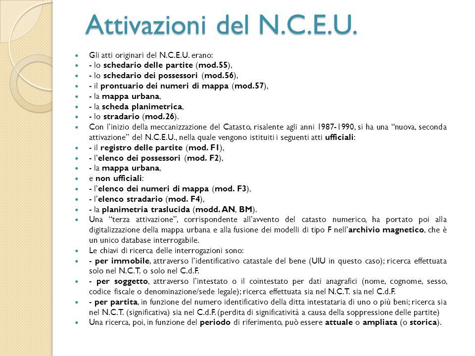 Attivazioni del N.C.E.U. Gli atti originari del N.C.E.U. erano: - lo schedario delle partite (mod.55), - lo schedario dei possessori (mod.56), - il pr