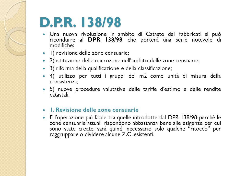 D.P.R. 138/98 Una nuova rivoluzione in ambito di Catasto dei Fabbricati si può ricondurre al DPR 138/98, che porterà una serie notevole di modifiche:
