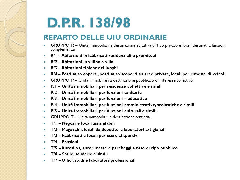D.P.R. 138/98 REPARTO DELLE UIU ORDINARIE GRUPPO R – Unità immobiliari a destinazione abitativa di tipo privato e locali destinati a funzioni compleme