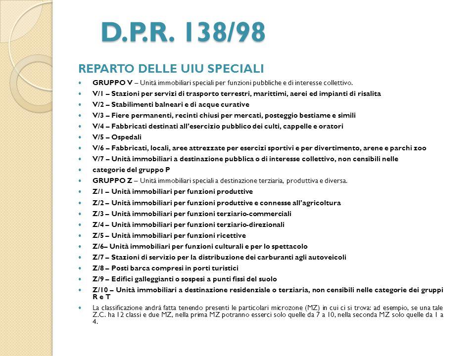 D.P.R. 138/98 REPARTO DELLE UIU SPECIALI GRUPPO V – Unità immobiliari speciali per funzioni pubbliche e di interesse collettivo. V/1 – Stazioni per se