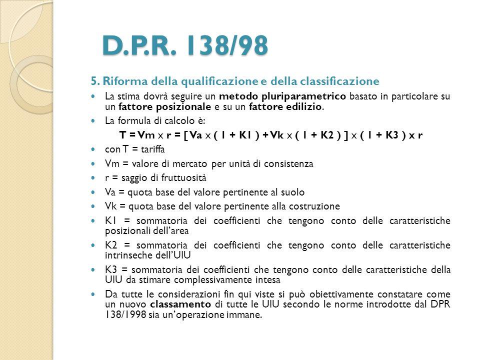 D.P.R. 138/98 5. Riforma della qualificazione e della classificazione La stima dovrà seguire un metodo pluriparametrico basato in particolare su un fa