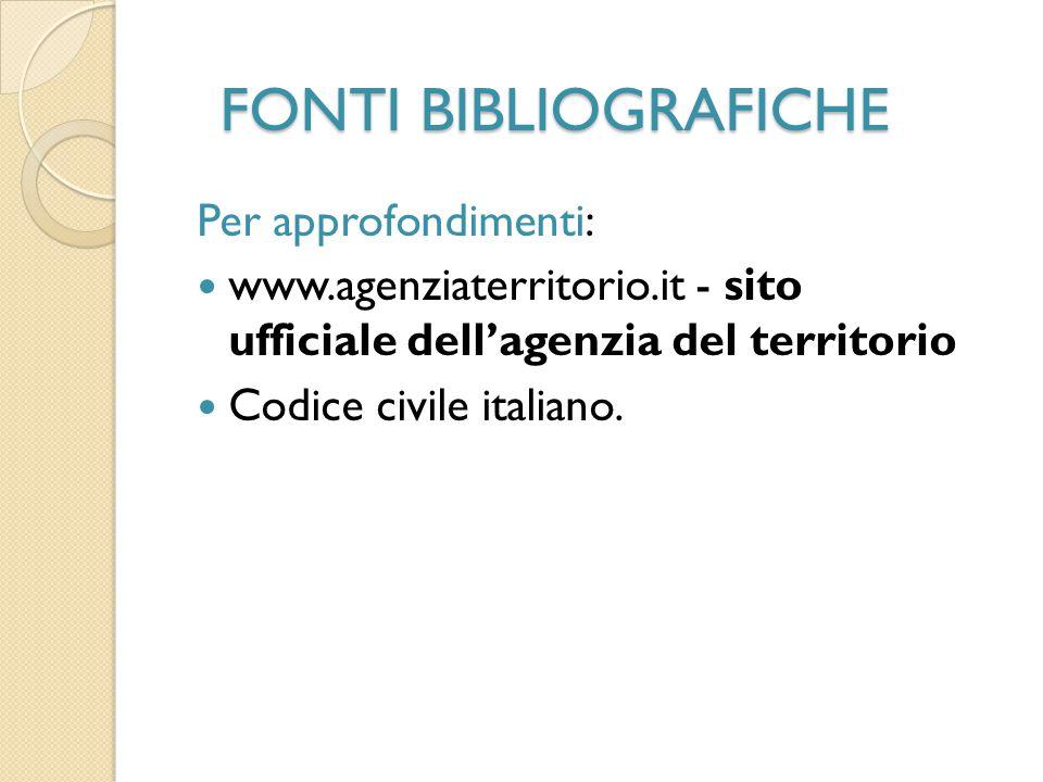 FONTI BIBLIOGRAFICHE Per approfondimenti: www.agenziaterritorio.it - sito ufficiale dell'agenzia del territorio Codice civile italiano.