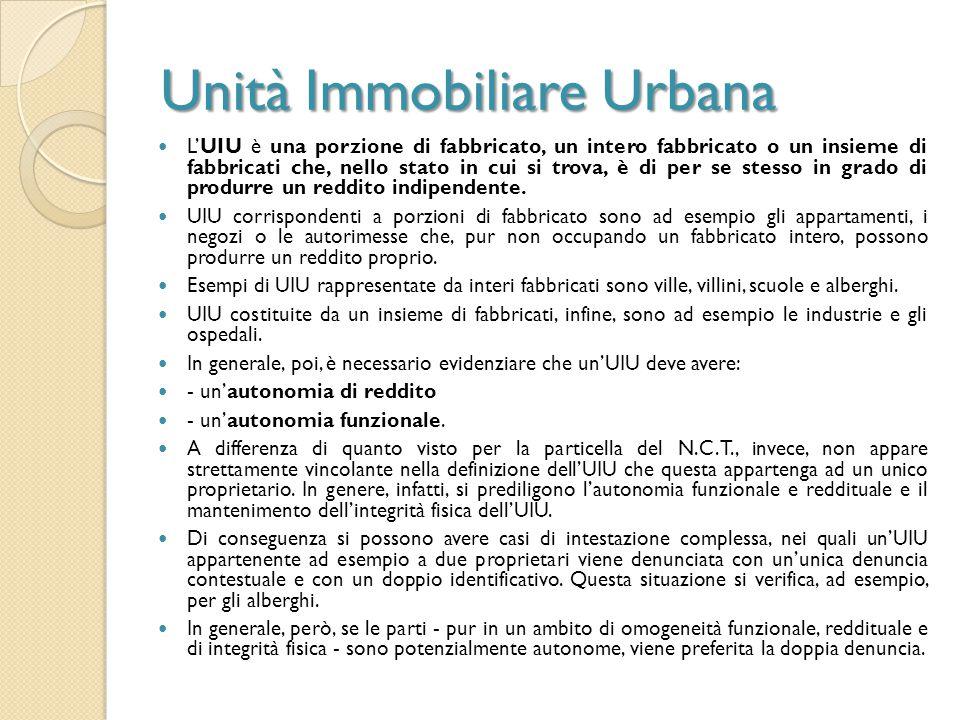 Unità Immobiliare Urbana L'UIU è una porzione di fabbricato, un intero fabbricato o un insieme di fabbricati che, nello stato in cui si trova, è di pe