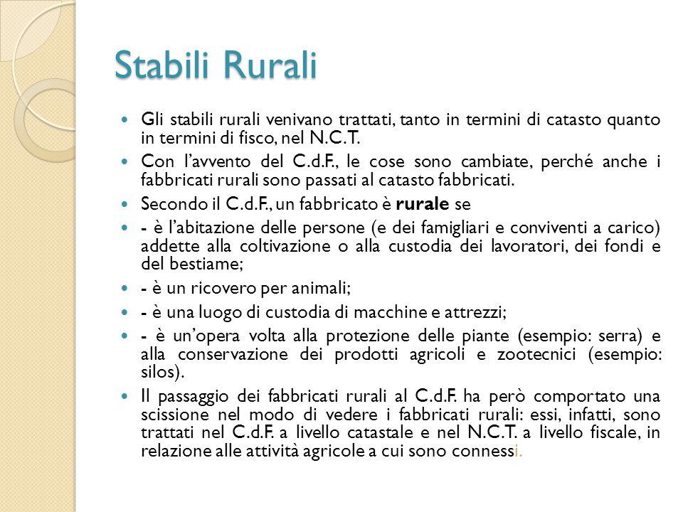 Stabili Rurali Gli stabili rurali venivano trattati, tanto in termini di catasto quanto in termini di fisco, nel N.C.T. Con l'avvento del C.d.F., le c