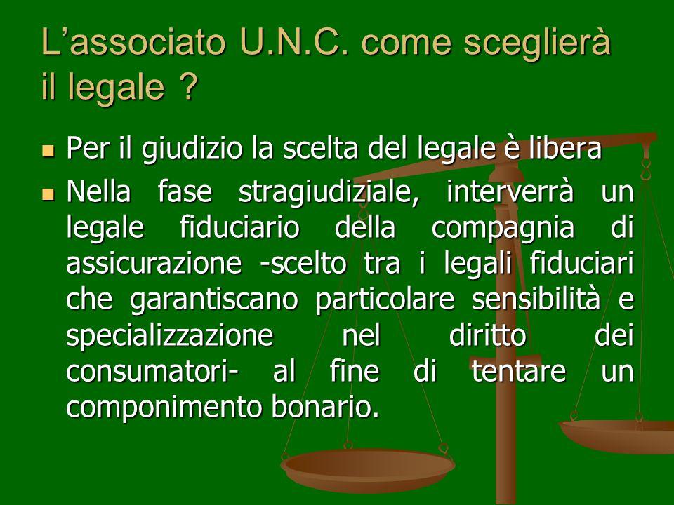 L'associato U.N.C. come sceglierà il legale .