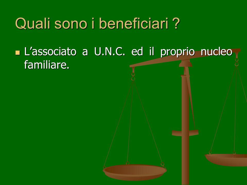 Quali sono i beneficiari . L'associato a U.N.C. ed il proprio nucleo familiare.