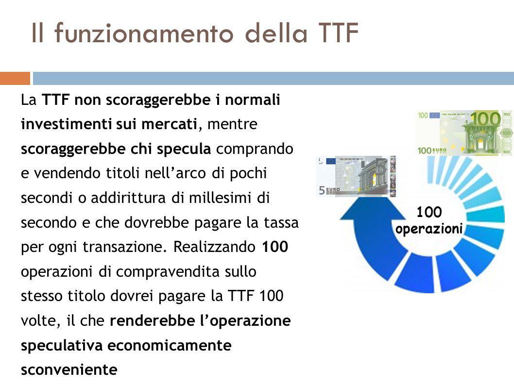 Il funzionamento della TTF La TTF non scoraggerebbe i normali investimenti sui mercati, mentre scoraggerebbe chi specula comprando e vendendo titoli nell'arco di pochi secondi o addirittura di millesimi di secondo e che dovrebbe pagare la tassa per ogni transazione.