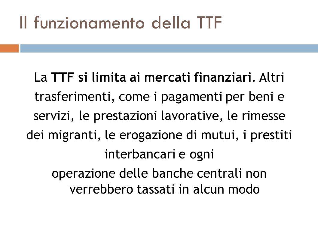 Il funzionamento della TTF La TTF si limita ai mercati finanziari.