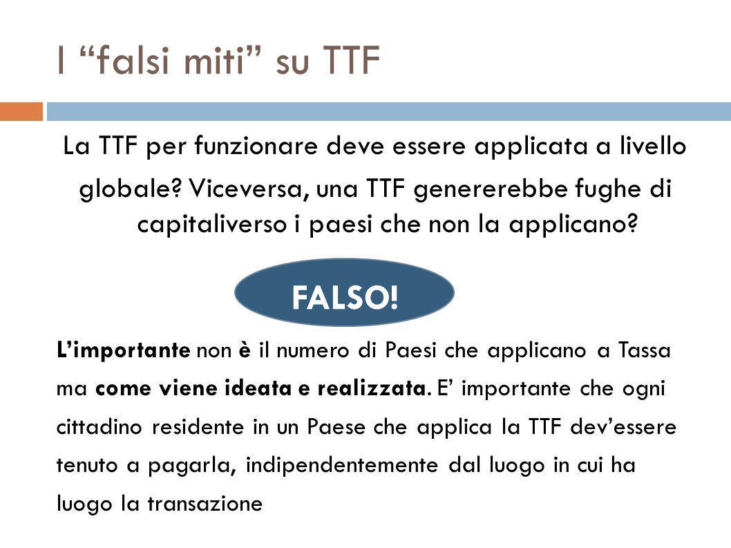 I falsi miti su TTF La TTF per funzionare deve essere applicata a livello globale.