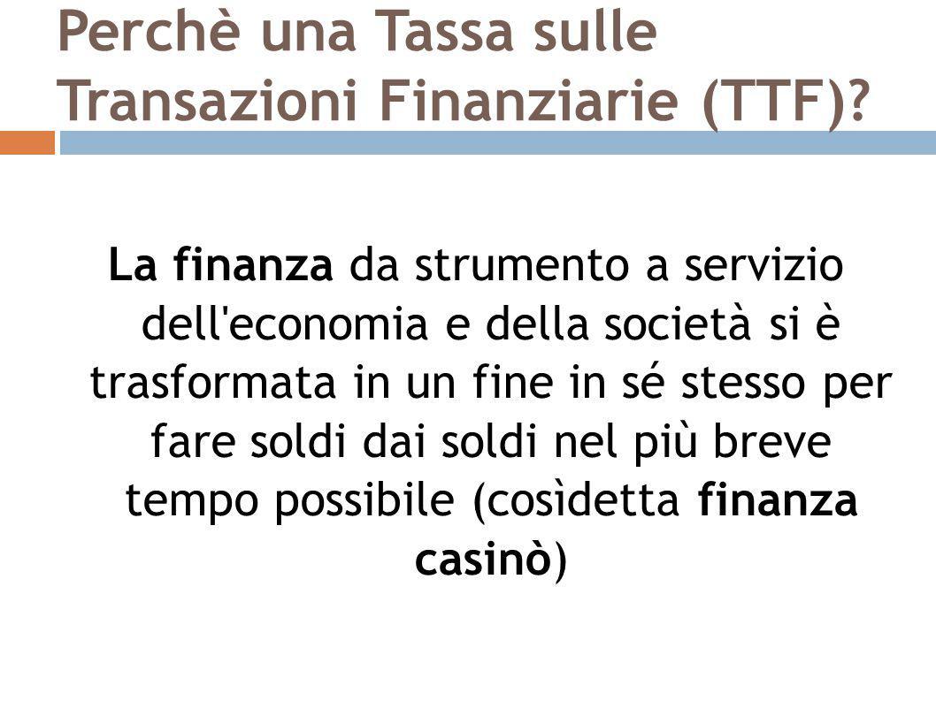 La TTF italiana La tassa sarà applicata al valore del saldo netto delle transazioni e non alla singola transazione; I fondi pensione sono esonerati dall'applicazione della TTF; La normativa attuale ha di fatto esonerato i derivati, relegandola ai soli derivati su azioni che rappresentano in Italia solo il 2,7% di tutti i derivati; La TTF all'italiana, in vigore dal 1 marzo 2013, presenta alcuni rilevanti limiti, che non ne permettono un corretto funzionamento e soprattutto ne limitano fortemente gli effetti positivi: