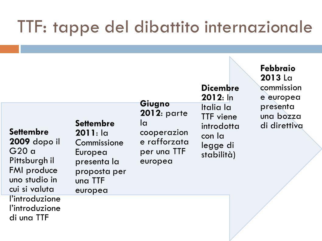 TTF: tappe del dibattito internazionale Febbraio 2013 La commission e europea presenta una bozza di direttiva Dicembre 2012: In Italia la TTF viene introdotta con la legge di stabilità) Giugno 2012: parte la cooperazion e rafforzata per una TTF europea Settembre 2011: la Commissione Europea presenta la proposta per una TTF europea Settembre 2009 dopo il G20 a Pittsburgh il FMI produce uno studio in cui si valuta l'introduzione l'introduzione di una TTF