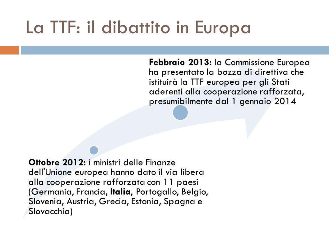 La TTF: il dibattito in Europa Ottobre 2012: i ministri delle Finanze dell Unione europea hanno dato il via libera alla cooperazione rafforzata con 11 paesi (Germania, Francia, Italia, Portogallo, Belgio, Slovenia, Austria, Grecia, Estonia, Spagna e Slovacchia) Febbraio 2013: la Commissione Europea ha presentato la bozza di direttiva che istituirà la TTF europea per gli Stati aderenti alla cooperazione rafforzata, presumibilmente dal 1 gennaio 2014