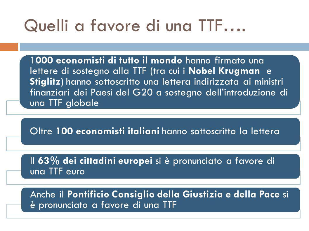 Quelli a favore di una TTF….