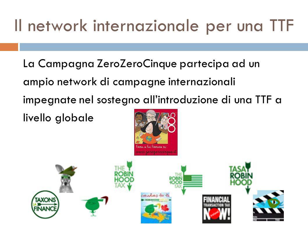 Il network internazionale per una TTF La Campagna ZeroZeroCinque partecipa ad un ampio network di campagne internazionali impegnate nel sostegno all'introduzione di una TTF a livello globale