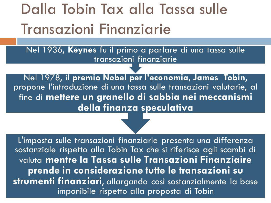 Dalla Tobin Tax alla Tassa sulle Transazioni Finanziarie L imposta sulle transazioni finanziarie presenta una differenza sostanziale rispetto alla Tobin Tax che si riferisce agli scambi di valuta mentre la Tassa sulle Transazioni Finanziaire prende in considerazione tutte le transazioni su strumenti finanziari, allargando così sostanzialmente la base imponibile rispetto alla proposta di Tobin Nel 1978, il premio Nobel per l'economia, James Tobin, propone l'introduzione di una tassa sulle transazioni valutarie, al fine di mettere un granello di sabbia nei meccanismi della finanza speculativa Nel 1936, Keynes fu il primo a parlare di una tassa sulle transazioni finanziarie