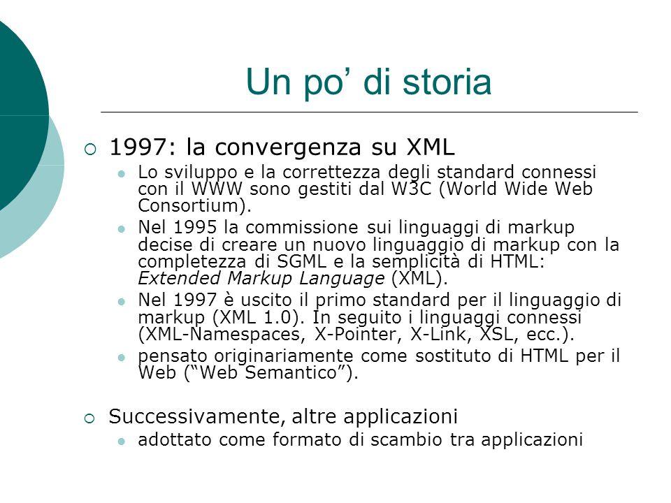 Un po' di storia  1997: la convergenza su XML Lo sviluppo e la correttezza degli standard connessi con il WWW sono gestiti dal W3C (World Wide Web Consortium).
