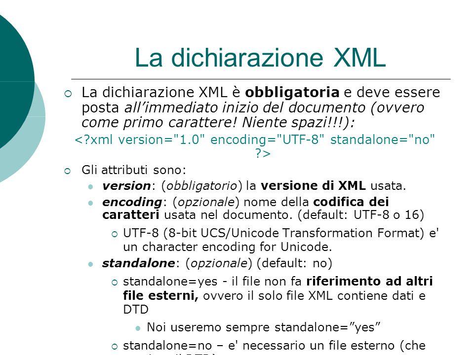 La dichiarazione XML  La dichiarazione XML è obbligatoria e deve essere posta all'immediato inizio del documento (ovvero come primo carattere.
