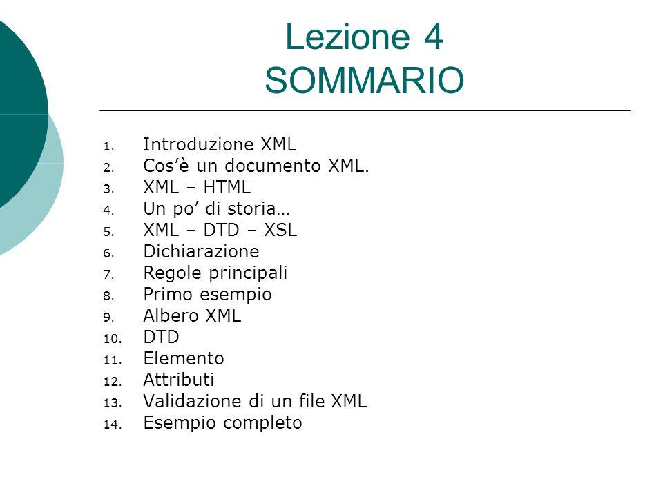 Lezione 4 SOMMARIO 1. Introduzione XML 2. Cos'è un documento XML.