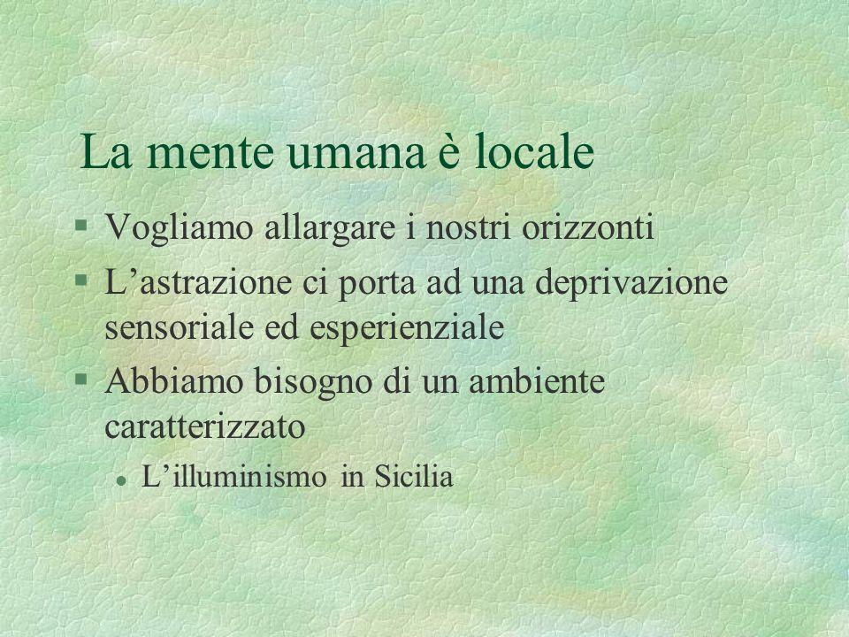La mente umana è locale §Vogliamo allargare i nostri orizzonti §L'astrazione ci porta ad una deprivazione sensoriale ed esperienziale §Abbiamo bisogno di un ambiente caratterizzato l L'illuminismo in Sicilia
