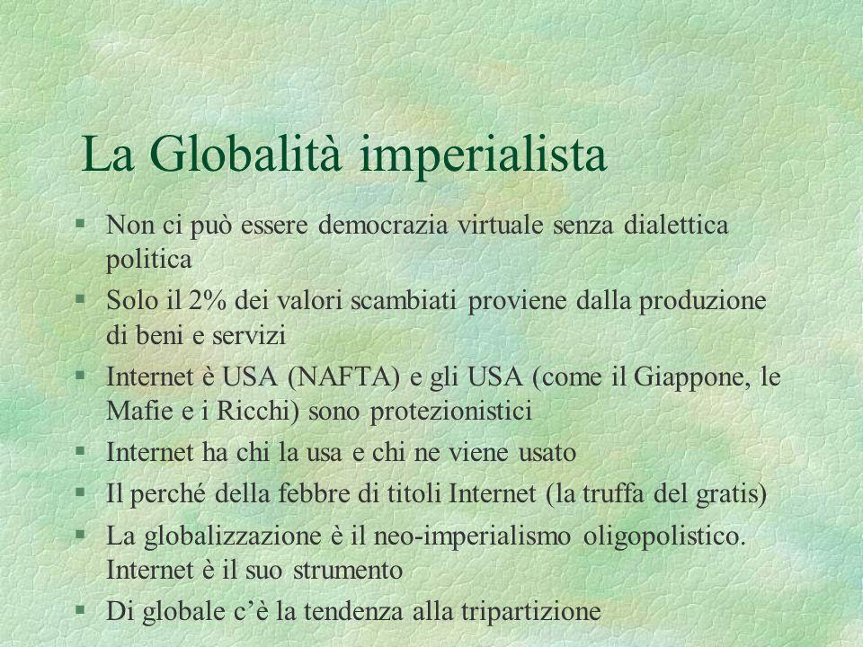 La Globalità imperialista §Non ci può essere democrazia virtuale senza dialettica politica §Solo il 2% dei valori scambiati proviene dalla produzione di beni e servizi §Internet è USA (NAFTA) e gli USA (come il Giappone, le Mafie e i Ricchi) sono protezionistici §Internet ha chi la usa e chi ne viene usato §Il perché della febbre di titoli Internet (la truffa del gratis) §La globalizzazione è il neo-imperialismo oligopolistico.