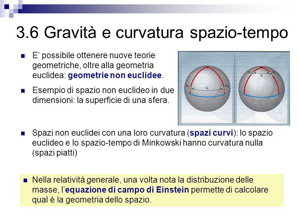 3.6 Gravità e curvatura spazio-tempo E' possibile ottenere nuove teorie geometriche, oltre alla geometria euclidea: geometrie non euclidee. Esempio di