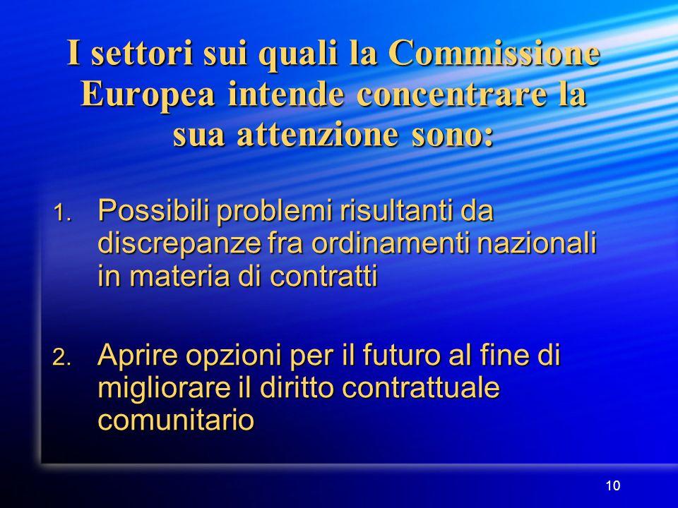 10 I settori sui quali la Commissione Europea intende concentrare la sua attenzione sono: 1.