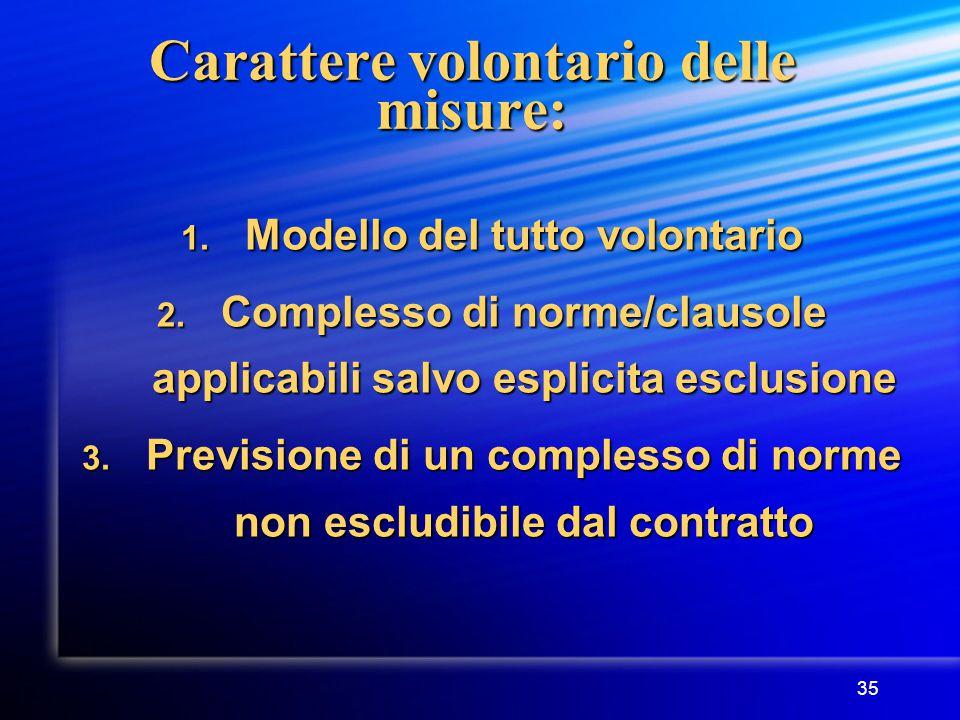 35 Carattere volontario delle misure: 1. Modello del tutto volontario 2.