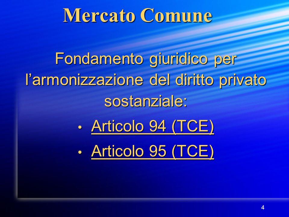 4 Mercato Comune Fondamento giuridico per l'armonizzazione del diritto privato sostanziale: Articolo 94 (TCE) Articolo 94 (TCE) Articolo 95 (TCE) Articolo 95 (TCE)