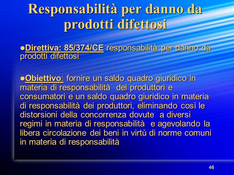 46 Responsabilità per danno da prodotti difettosi Direttiva: 85/374/CE responsabilità per danno da prodotti difettosi Direttiva: 85/374/CE responsabilità per danno da prodotti difettosi Obiettivo: fornire un saldo quadro giuridico in materia di responsabilità dei produttori e consumatori e un saldo quadro giuridico in materia di responsabilità dei produttori, eliminando così le distorsioni della concorrenza dovute a diversi regimi in materia di responsabilità e agevolando la libera circolazione dei beni in virtù di norme comuni in materia di responsabilità Obiettivo: fornire un saldo quadro giuridico in materia di responsabilità dei produttori e consumatori e un saldo quadro giuridico in materia di responsabilità dei produttori, eliminando così le distorsioni della concorrenza dovute a diversi regimi in materia di responsabilità e agevolando la libera circolazione dei beni in virtù di norme comuni in materia di responsabilità