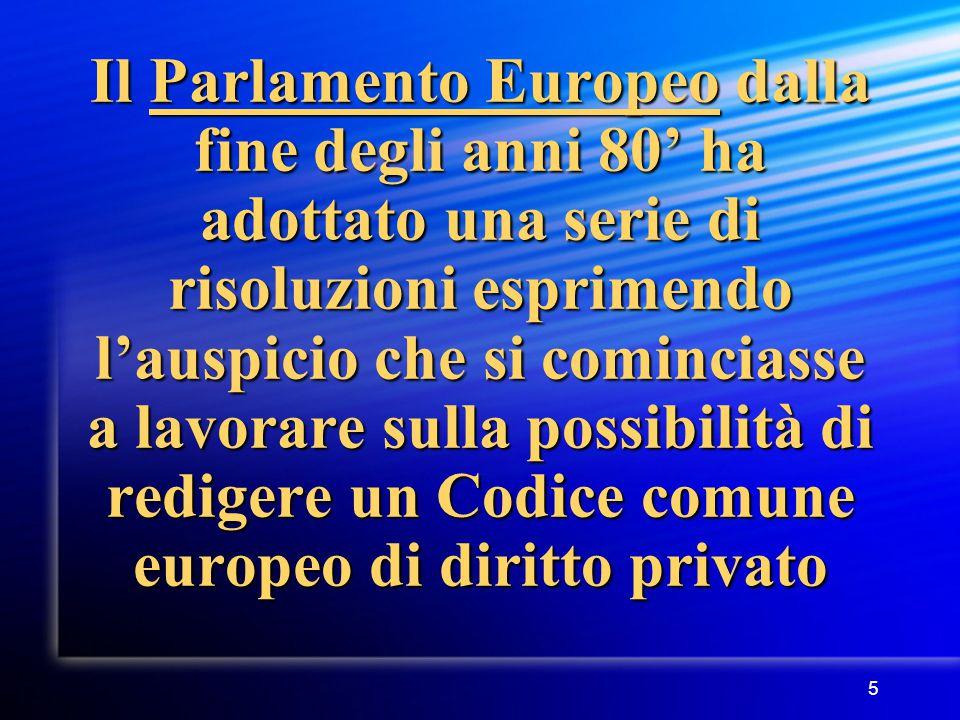 5 Il Parlamento Europeo dalla fine degli anni 80' ha adottato una serie di risoluzioni esprimendo l'auspicio che si cominciasse a lavorare sulla possibilità di redigere un Codice comune europeo di diritto privato