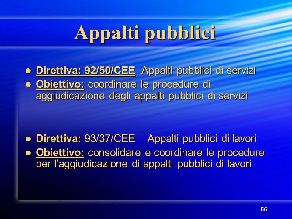 56 Appalti pubblici Direttiva: 92/50/CEE Appalti pubblici di servizi Direttiva: 92/50/CEE Appalti pubblici di servizi Obiettivo: coordinare le procedure di aggiudicazione degli appalti pubblici di servizi Obiettivo: coordinare le procedure di aggiudicazione degli appalti pubblici di servizi Direttiva: 93/37/CEE Appalti pubblici di lavori Direttiva: 93/37/CEE Appalti pubblici di lavori Obiettivo: consolidare e coordinare le procedure per l'aggiudicazione di appalti pubblici di lavori Obiettivo: consolidare e coordinare le procedure per l'aggiudicazione di appalti pubblici di lavori