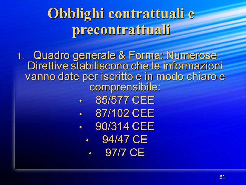 61 Obblighi contrattuali e precontrattuali 1.