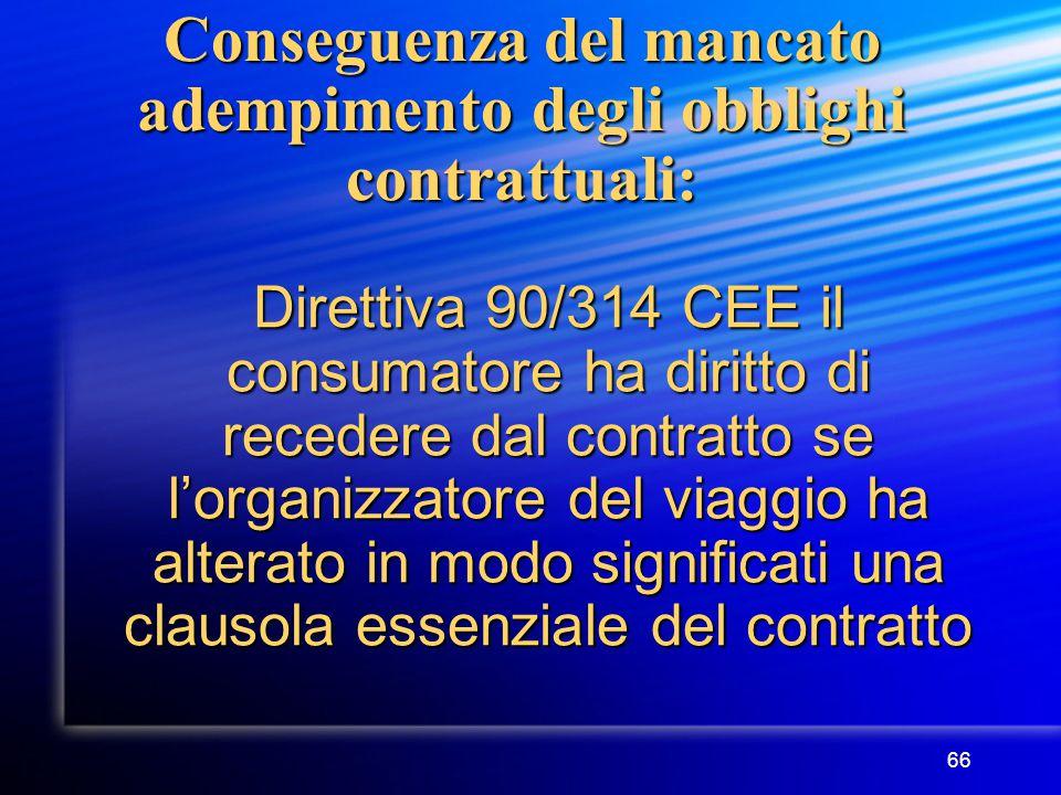 66 Conseguenza del mancato adempimento degli obblighi contrattuali: Direttiva 90/314 CEE il consumatore ha diritto di recedere dal contratto se l'organizzatore del viaggio ha alterato in modo significati una clausola essenziale del contratto