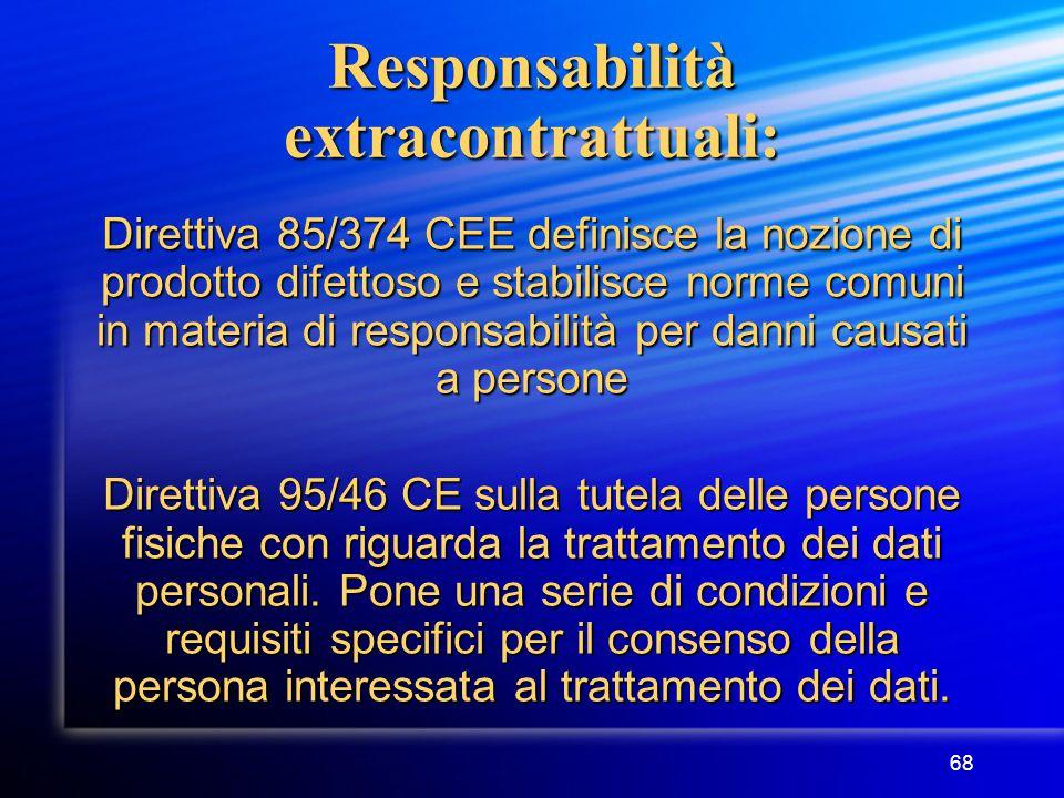 68 Responsabilità extracontrattuali: Direttiva 85/374 CEE definisce la nozione di prodotto difettoso e stabilisce norme comuni in materia di responsabilità per danni causati a persone Direttiva 95/46 CE sulla tutela delle persone fisiche con riguarda la trattamento dei dati personali.