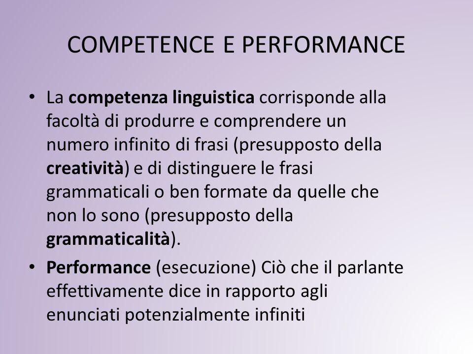 COMPETENCE E PERFORMANCE La competenza linguistica corrisponde alla facoltà di produrre e comprendere un numero infinito di frasi (presupposto della creatività) e di distinguere le frasi grammaticali o ben formate da quelle che non lo sono (presupposto della grammaticalità).
