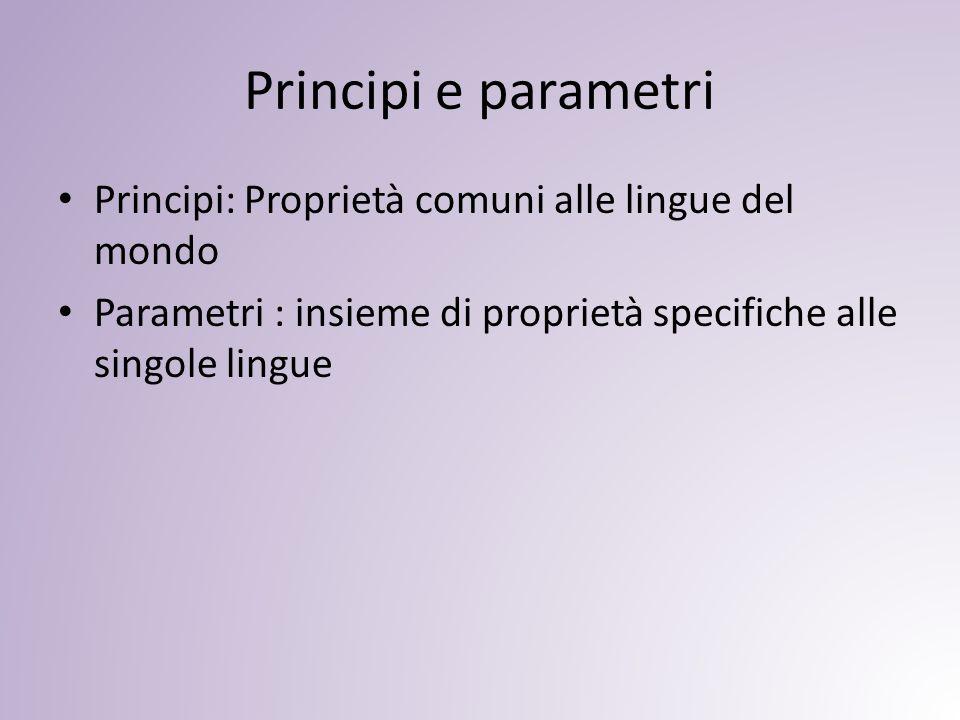 Principi e parametri Principi: Proprietà comuni alle lingue del mondo Parametri : insieme di proprietà specifiche alle singole lingue