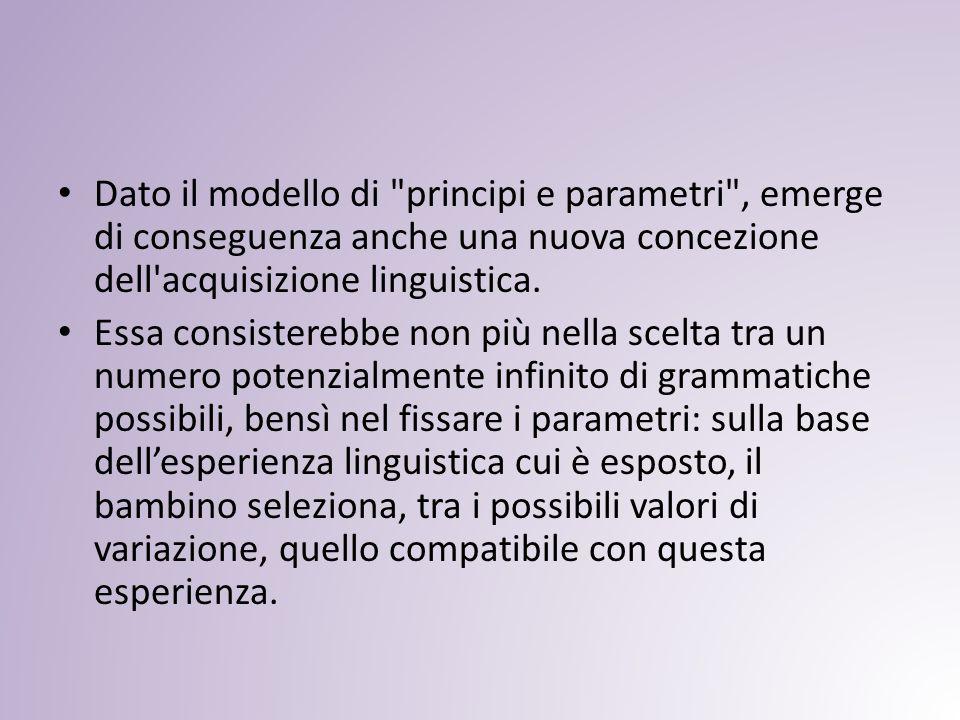 Dato il modello di principi e parametri , emerge di conseguenza anche una nuova concezione dell acquisizione linguistica.
